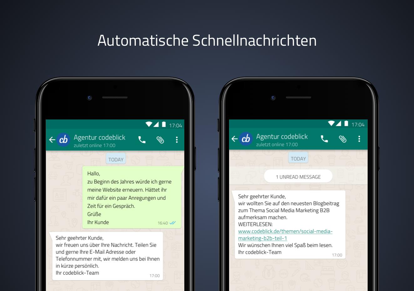 Wir berichten als Digitalagentur über die automatischen Schnellnachrichten der WhatsApp Funktion für Unternehmen.